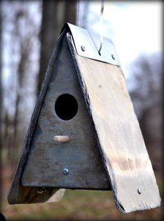 SLATE BIRDHOUSE Cottage Garden / reclaimed / stone / squirrel proof / wren. $59.99, via Etsy.