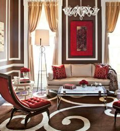 Glam Living Room Decor Brown And Poppy Red