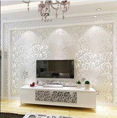 Modern Non Woven Flocking Damask Embossed Wallpaper Wall Paper Rolls Greyu2026