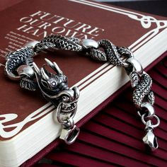 Dragon Bracelet handmade in sterling silver by MissSueLife on Etsy