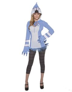 Regular Show Mordecai Adult Women's Costume exclusively at Spirit Halloween - Be anything but ordinary when you wear this officially licensed Regular Show Mordecai Adult Women's Costume. This super cute outfit comes complete with a hooded character shrug, matching dress and black and grey leggings. Get your Mordecai Costume for $39.99.