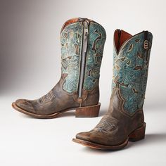 GIRL ABOUT TOWN BOOTS--These square-toed, rodeo-inspired boots are the ultimate crossover; the best of the West, perfectly at home on city streets. - #CowgirlChic