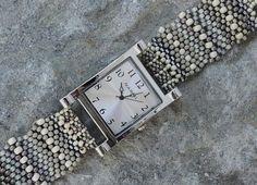 Father Time Pearl  Free Form Peyote Stitch Beaded Watch Bracelet by Cheri C Meyer, $95.00 #etsy