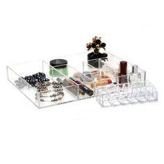 Blisshome Glam Schubladen-Sortierkasten mit 7 Fächern und Lippenstifthalter: Amazon.de: Küche & Haushalt