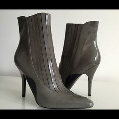 "S O L D~~~ALEXANDER WANG MAGDA GRAY PATENT  ANKLE ALEXANDER WANG MAGDA GRAY PATENT  LEATHER ANKLE BOOTIES, SIZE 41, PULL ON, POINTED-TOE, COVERED HEIGHT HEEL 4.5"", SHAFT 6"", LEATHER UPPER, SOLE AND LINING, BRAND NEW WITH BOX AND DUST BAG Alexander Wang Shoes Ankle Boots & Booties"