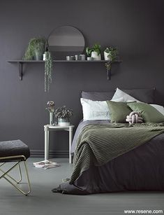 Walls trim and shelving in deep and dark Resene Nocturnal set the mood for a cocoon-like bedroom pi&; Walls trim and shelving in deep and dark Resene Nocturnal set the mood for a cocoon-like bedroom pi&; Charcoal Bedroom, Dark Gray Bedroom, Gray Bedroom Walls, Feature Wall Bedroom, Bedroom Wall Colors, Bedroom Color Schemes, Room Ideas Bedroom, Home Decor Bedroom, Bedroom Mirrors