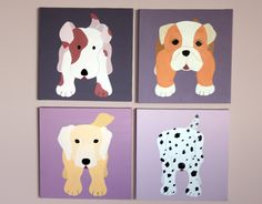 Dog nursery art paintings. Dog paintings. Custom baby puppy pictures on canvas for child and kids dog theme rooms and playrooms (not prints). $180.00, via Etsy.