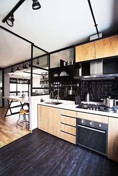Kitchen idea! Love the partition, tge dish casing and colour combi. Perhaps to change tiles to glass blacking