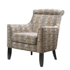 Madeline Brown Patterend Roll-Back Accent Chair