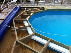 Above Ground Pool Landscaping, Above Ground Pool Decks, In Ground Pools, Small Inground Pool, Intex Pool, Swimming Pool Slides, Swimming Pools Backyard, Redneck Pool, Pool Deck Plans