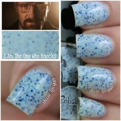 """THE ULTIMATE FANDOM COLLCETION - PART DEUX. """"I Am The One Who Knocks"""" FANDOM: BREAKING BAD Inspired by Walter & Jessie's infamous blue meth, this light blue crelly is jam-packed with varying blue shade micro glitters. Available for purchase on August 22nd at dollishpolish.com"""