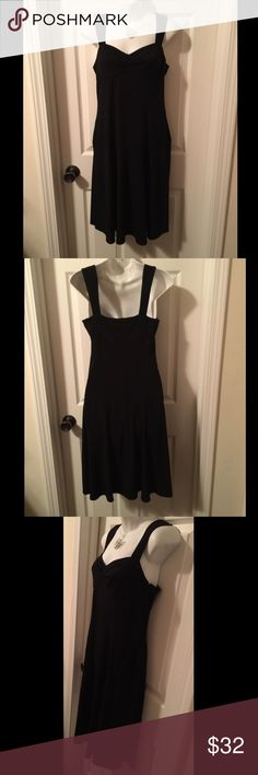 "❤️ LBD ❤️ Nicole Miller Stretch Little Black Dress Sweet LBD ~ Nicole by Nicole Miller. No size tag, but the measurements are: 17"" pit-to-pit in the front - back is quite stretchy so there is give, but the bust cups are small; 32"" waist (UNSTRETCHED), 40"" length. Fabric is quite stretchy. So I'm going to guess its about a size 6 or 8. Please check your measurements! Excellent condition with no flaws to note. Nicole by Nicole Miller Dresses Midi"