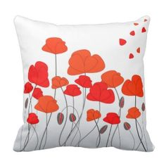 Shop Red Poppies Pillow created by D_Zone_Designs. Red Throw Pillows, Orange Poppy, Decorative Pillow Cases, Red Poppies, Poppies Art, Custom Pillows, Canvas Art Prints, Cushions, Beautiful