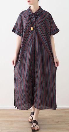 8fd819ab9f3 Elegant red blue striped cotton linen shirt dresses lapel collar summer  Dress