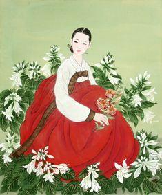 Korean elegance woman by Bak Yeun-ok 한국 전통 미인도( 화가 - 박연옥)