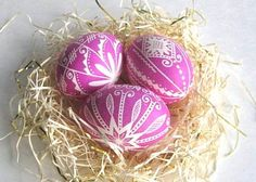 Set of 3 Pink Pysanky hand painted chicken egg shells, from Ukranian Easter Eggs on etsy - these are gorgeous - amazing shop!