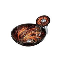 彩色上絵洗面ボウル&蛇口セット 洗面台 手洗い器 強化ガラス製 渦巻柄 排水金具付                              …