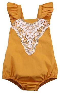 Stylish mustard lace romper for your little princess. Shop it now Toddler Girl Romper, Toddler Girl Style, Toddler Boy Outfits, Toddler Girls, Baby Girl Fashion, Toddler Fashion, Kids Fashion, Fall Fashion, Cute Rompers