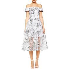 Women's Slash Neck Off The Shoulder Short Sleeve Cocktail Dress (2,340 INR) ❤ liked on Polyvore featuring dresses, white, white floral dress, floral cocktail dresses, off the shoulder cocktail dress, short-sleeve dresses and white cocktail dresses