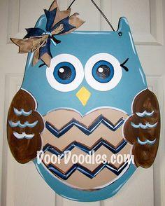 Jumbo Owl wooden door hanger decoration by DoorDoodlesDecor