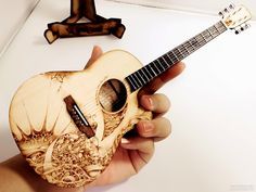 Pyrography On Acoustic Guitar Miniature DIY Kit 1 4 Scale 95x250mm Wood Burning ArtWood