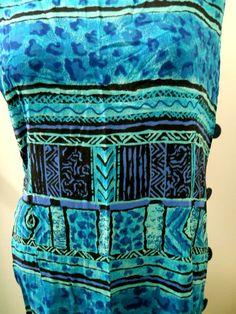 Vtg Sz 12 Womens R & K Originals Blue Long Hawaiian Dress Muu Muu Split Leg #Dress #Fashion #Deal