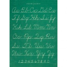 Decorative poster with the alphabet on a green chalk board. Use the poster as wall decoration, for example in a children's room or office. Combine some different prints to make your own personalized wall.