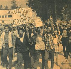 "A walkout--or ""blowout""--by Mexican-American students at two Los Angeles high schools sets in motion a massive protest movement, eventually involving thousands of students demanding more bilingual education and the teaching of Mexican cultural history. Pictured: Mexican-American student protesters. (Chicano Student News, courtesy California Library for Social Studies and Research)"