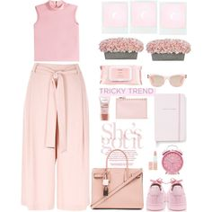 How To Wear the culottes chic pastel pink Outfit Idea 2017 - Fashion Trends Ready To Wear For Plus Size, Curvy Women Over 20, 30, 40, 50