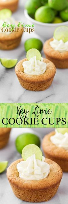 KEY LIME COOKIE CUPS -- chewy lime cookies with key lime frosting filling!! So good!