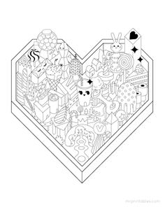 Giant Valentines Day Coloring Page 12 Pages Free Printable