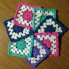 These are squares for my sons blanket. I followed the Colorburst Afghan tutorial by The Crochet Crowd.