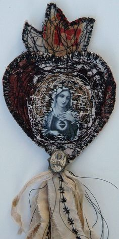 Urban Milagro created with machine embroidery, digitally altered holy card, urban relics