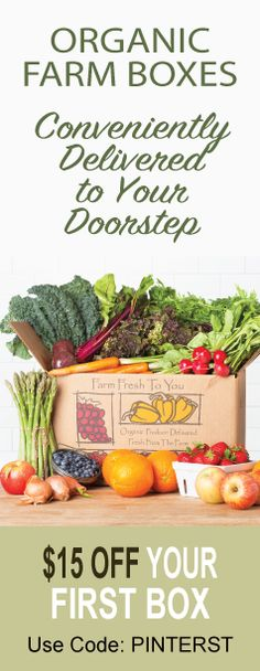 Organic Produce Conveniently Delivered Every Week! Easy to customize each box. Get $15 Off Your First Box With Code: PINTEREST15.