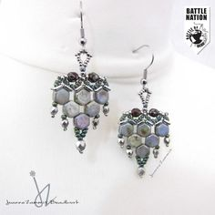 honeycomb beads- earrings - lovely creative design.  like the color combo