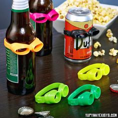Beer Goggles Never lose your beer at a party again, just look for the one with the beer goggles on. This novelty party item comes with 6 brightly coloured goggles that fit any can or bottle of beer. They are dishwasher safe and a great conversation starter at a party. BUY IT HERE