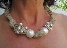 Linen Necklace Knots Fantasy XL Pearls Metalic by espurna88