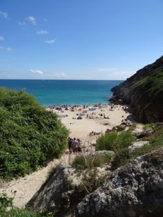 Porthcurno Beach south coast of Cornwall, England