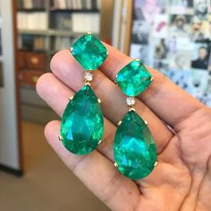 Exotic Genuine Zambian Emerald Dangle & Drop Earrings long So Elegant and Attractive Yellow Gold Over Emerald Earrings, Emerald Jewelry, Hoop Earrings, Royal Jewelry, Jewellery, High Jewelry, Beaded Earrings, Zambian Emerald, Emerald Diamond