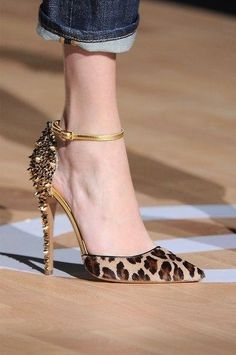 Leopard Print Pointed Toe Heels With Riverts