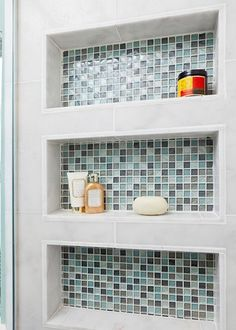 Built in Shower shelves Beach Bath - eclectic - bathroom - other metro - In Detail Interiors Bathroom Renos, Small Bathroom, Master Bathroom, Downstairs Bathroom, Shower Shelves, Bathroom Shelves, Glass Shelves, Metal Shelves, Bathroom Wall