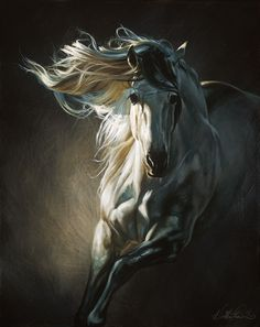 """goldfinchthistle: """" horse art by Heather Theurer """""""