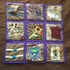 Sensory Blanket- Fidget Quilt- Garden with Purple Frame by EclecticEchos on Etsy