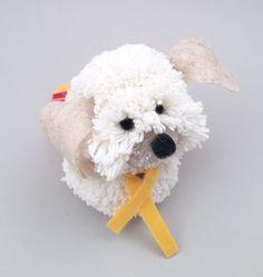 Cachorro Pom Pom de Lã - Material e Passo a Passo