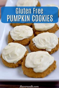 These Gluten Free Pumpkin Cookies, with cream cheese frosting, are a must for pumpkin fans! They're soft, perfectly spiced, and packed with pumpkin flavor. Gluten Free Pumpkin Cookies, Gluten Free Cookie Recipes, Gluten Free Sweets, Gluten Free Baking, Baking Recipes, Dessert Recipes, Gluten Free Flour Mix, Cookie Calories, Pumpkin Recipes