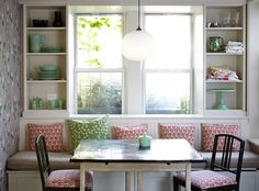 Wallpaper by GP & J Baker and a block print by Madeline Weinrib enliven a breakfast nook at the Brooklyn home of Jen Albano and Matt Dawson. | Lonny November 2014