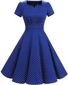 Blue and white polka dot vintage swing dress. Vintage Dresses 50s, Unique Prom Dresses, Pretty Dresses, Vintage Outfits, Short Sleeve Dresses, Vintage Fashion, Setswana Traditional Dresses, Shweshwe Dresses, Mode Chic