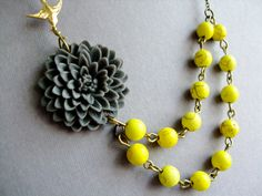 Statement Grey  NecklaceDouble StrandYellow by RachelleD on Etsy, $35.00