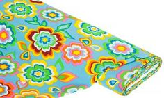 Hippiestoff+Flower-Power,+türkis-color € 5,95