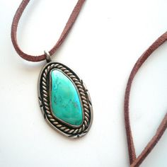 Vintage Silver Turquoise Leather Necklace